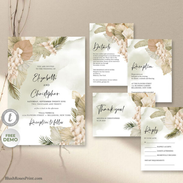 trendy-boho-tropical-dried-palm-blush-orchid-dusty-rose-wedding-invitation-template