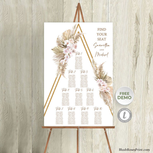 trendy-boho-wedding-find-your-seat-sign-template
