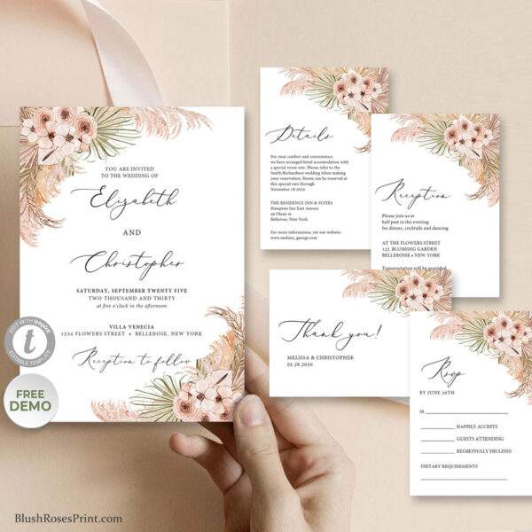 trendy-boho-wedding-invitaion-template-dried-palm-leaves-pampas-grass-dusty-pink-orchid