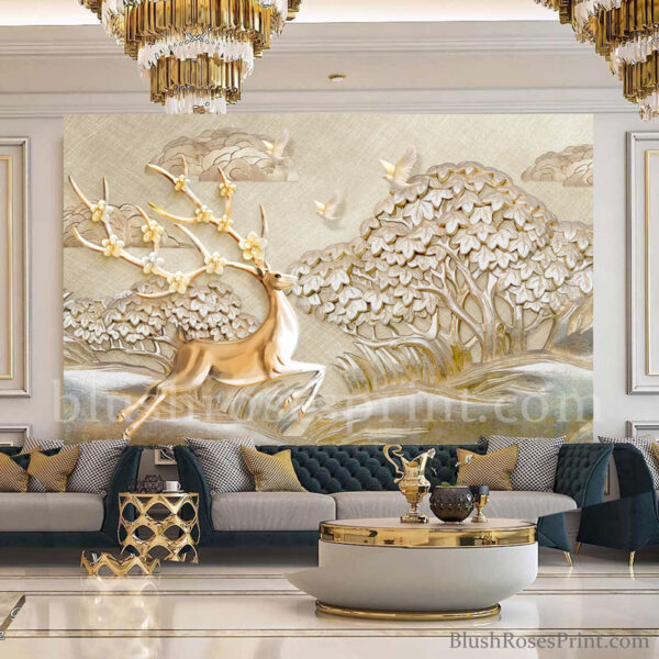 3d-stereo-gold-wallpaper-with-gold-deer-and-gold-tree-printable