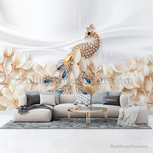 3d-wall-art-print-with-diamond-peacock-and-gold-flowers
