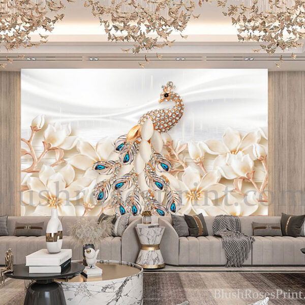 3d-wall-art-print-with-gold-peacock-and-gold-flowers