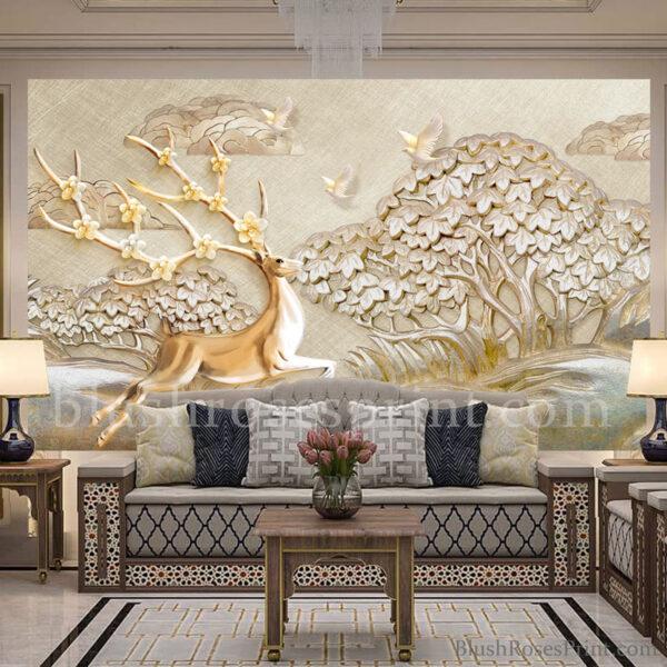 3d-wall-art-ptint-gold-deer-embosed-flowers-stereo-efect-jewelry-flowers
