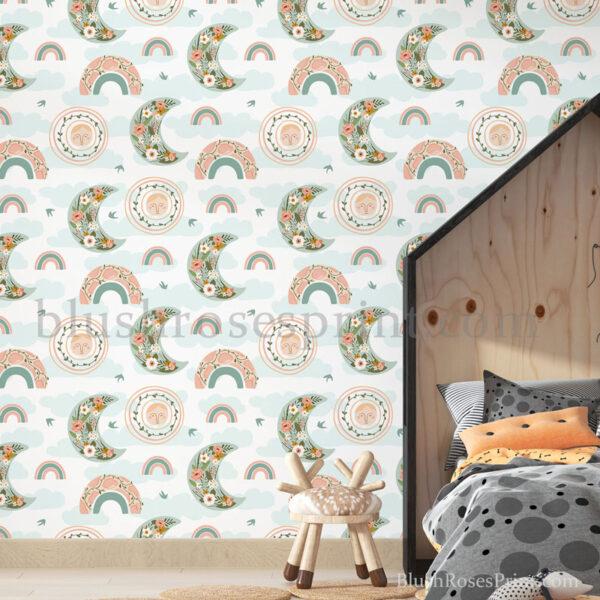 amazing-kids-room-wall-art-print-with-modern-rainbow-floral-moon-and-sun-wall-mural-digital
