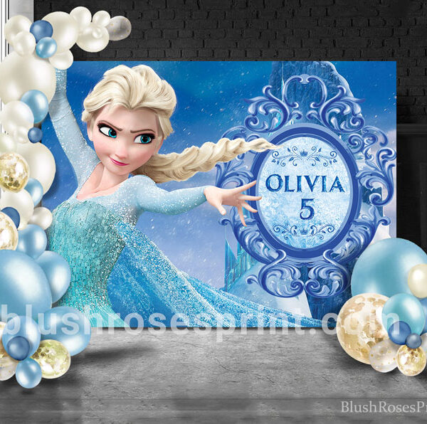 birthday-backdrop-template-with frozen-theme-elsa-and-anna