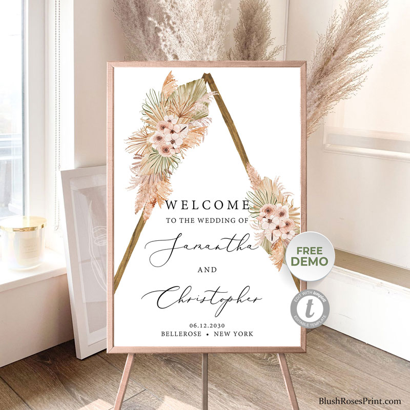 dried-tropical-flowers-dusty-pink-roses-blush-orchid-welcome-sign-poster