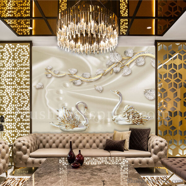 golden-wallpaper-home-decor-with-swans-diamond-flowers-nad-pearl