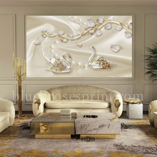 gorgeous-3d-wallpaper-with-faux-gold-swans-jewelry-flowers-and-pearl-at-silk-background