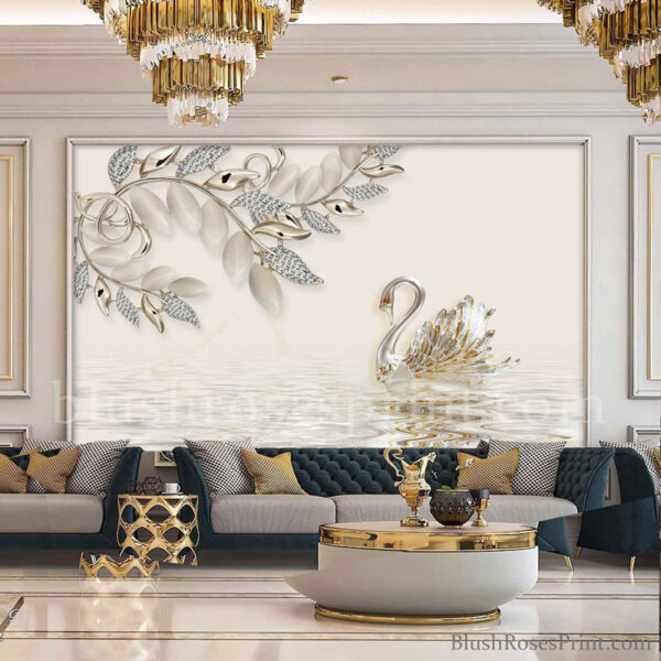 modern-3d-wallpaper-with-silver-swan-in-lake-printable-or-print