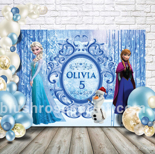 party-banner-template-with-frozen-theme-backdrop-printable