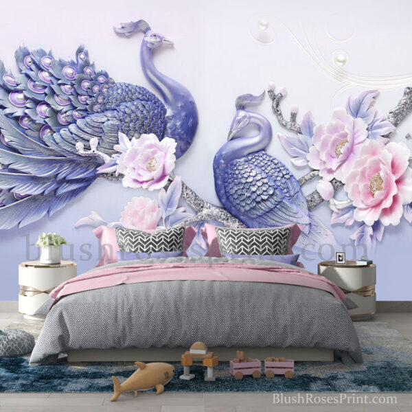 purple-peacock-and-blush-pink-roses-wall-art-print-3d-wallpaper-wall-sticker-wall-decal