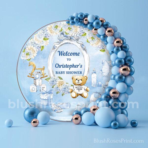round-boy-baby-shower-backdrop-template-or-printed-teddy-bear-dusty-blue-hydrangeas