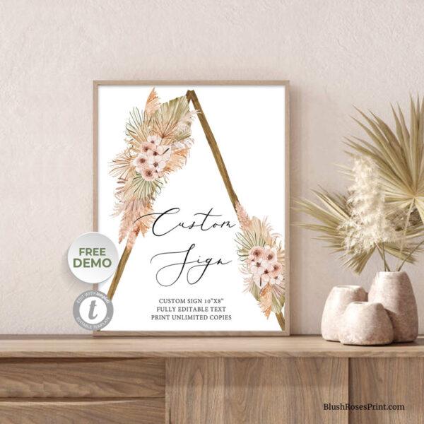 rustic-wooden-arch-custom-sign-bohemian-dry-palm-leaf-dusty-rose
