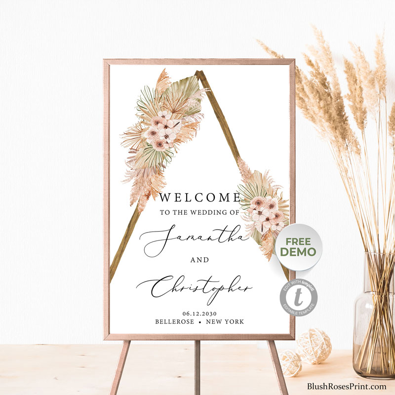 rustic-wooden-arch-dried-florals-orchid-wedding-welcome-sign