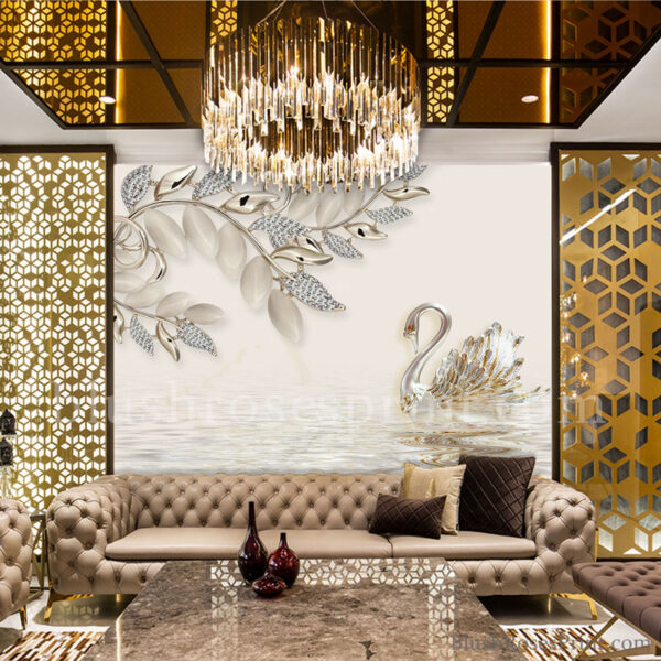 silver-jewelry-swan-3d-wallpaper-wall-art-print-or-printable-modern-dining-room-decor