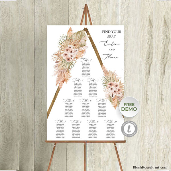 summer-tropical-dried-flowers-rustic-wooden-arch-seating-chart-sign