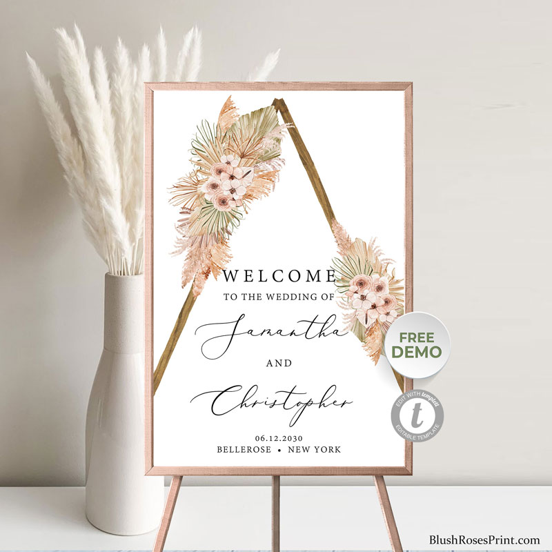 summer-tropical-flowers-and-leaves-boho-wedding-welcome-porch-sign