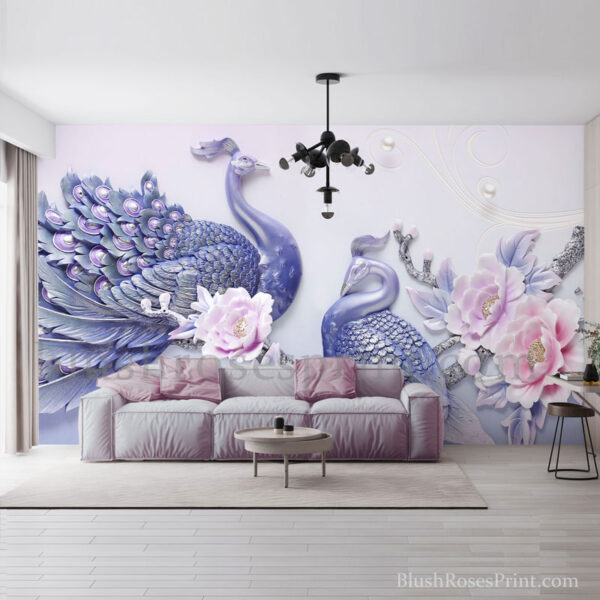 two-purple-peacocks-with-blush-roses-3d-wallpaper-wall-art-print
