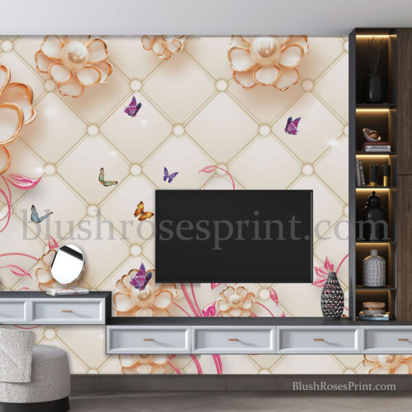 3d-tv-wall-paper-background-with-blush-pink-jewelry-flowers