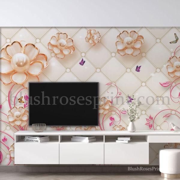 embossed-3d-jewelry-flowers-tv-wall-art-sticker-wallpaper-digital