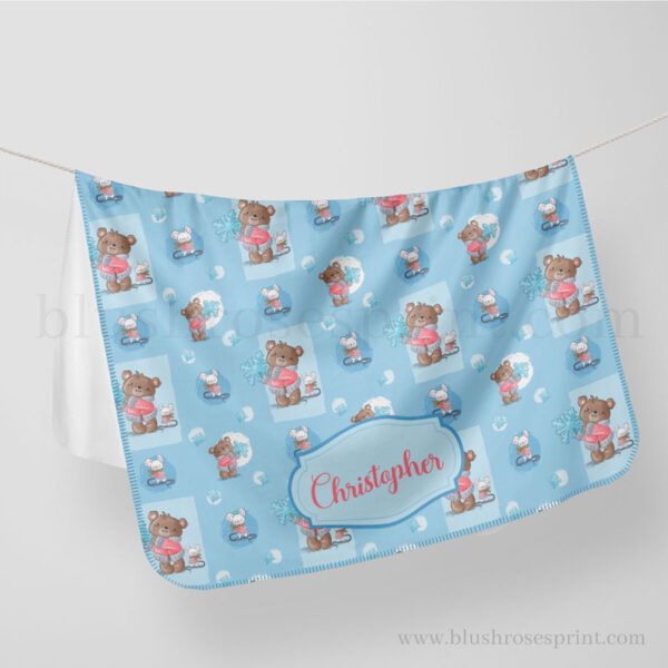 fluffy-polar-blanket-with-teddy-bear-mouse-and-sbowflake-gift-for-boy-baby-shower