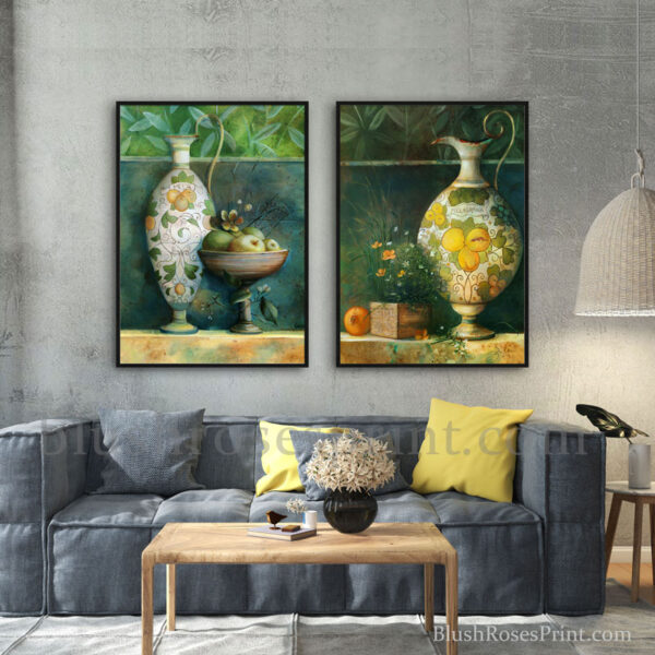 nordic-style-framed-pictures-2-set-with-vases-fruits-and-flowers-modern-home-decor