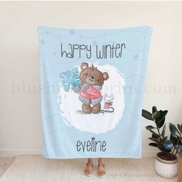 personalized-baby-fleece-with-teddy-bear-and-mouse-and-snowflake-for-boy-birthday-1