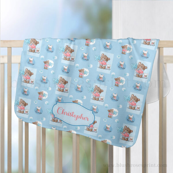 personalized-blanket-with-teddy-bear-and-her-friend-mouse-with-snowflake