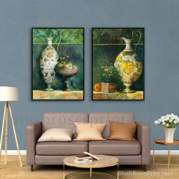 trendy-nordic-style-framed-pictures-wall-art-digital-print-china-vases-with-apples