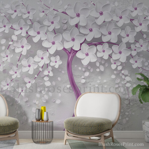 unique-wall-art-print-with-3d-tree-and-white-blossom-in-purple-and-white