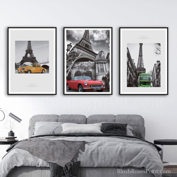 abstract-industrial-style-wall-art-print-set-of-3-eifel-towel-and-retro-cars-big-canvas-art
