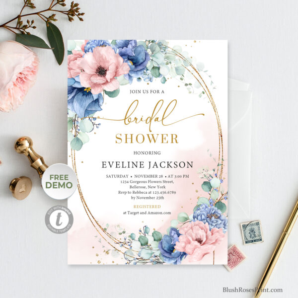 dusty-blue-dusty-pink-powder-pink-roses-flowers-faux-gold-oval-frame-eucalyptus-greenery-invitation-template