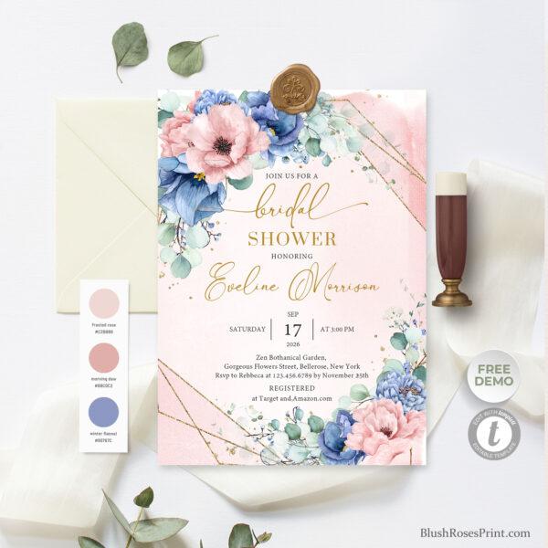 dusty-pink-dusty-blue-blsuh-pink-floral-gold-geometric-frame-bridal-shower-invite-digital