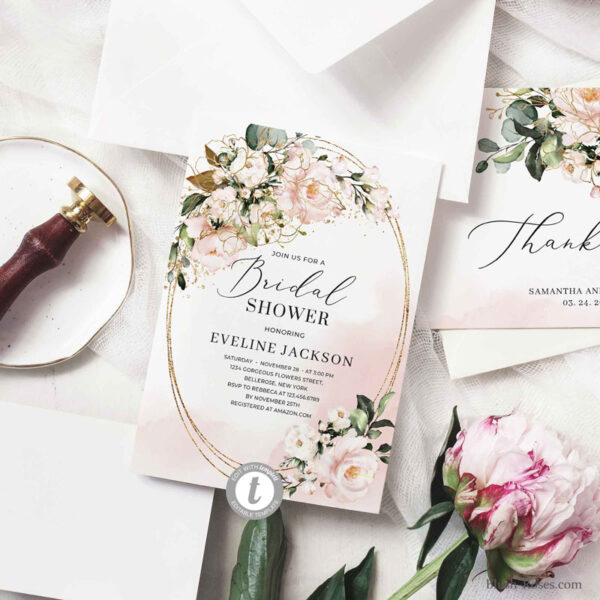 modern-trendy-boho-bridal-shower-invitation-with-blush-pink-roses-peonies-and-faux-gold-frame