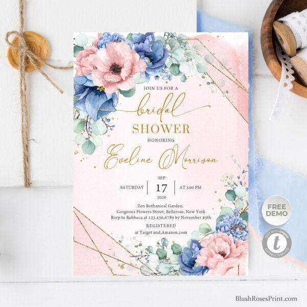 pastel-blue-and-pastel-pink-flowers-gold-glitter-geometric-frame-bridal-invitation-printable