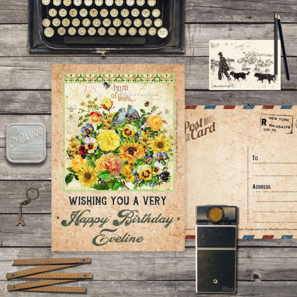 personalized-vintage-greeting-card-template-with-vintage-garden-flowers