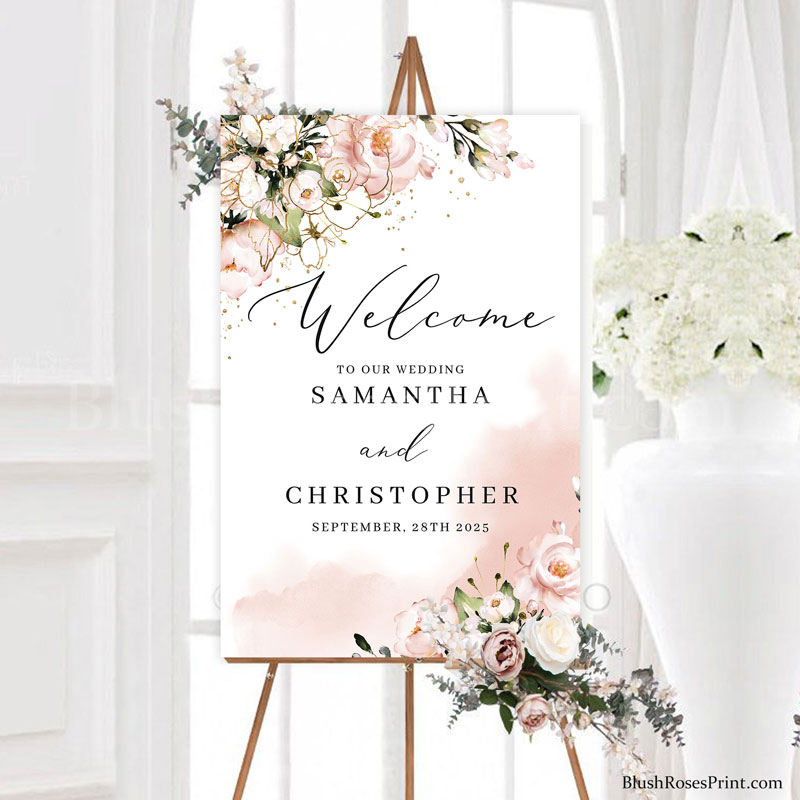 18x24-wedding-welcome-sign-blush-pink-faux-gold-and-dusty-pink-roses-flowers