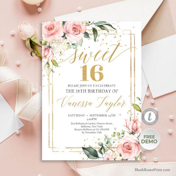 blooming-roses-flowers-gold-geometric-frame-bohemian-sweet-16th-invitation-printable