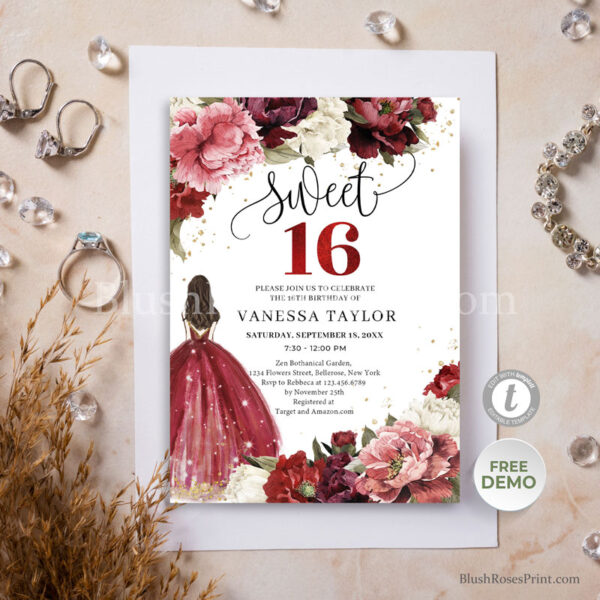 blush-burgundy-mauve-and-maroon-flowers-peonies-sweet-sixteen-quinceanera-invitstion