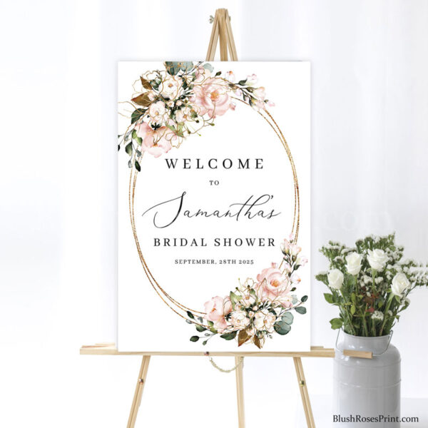 blush-pink-floral-flowers-roses-rose-gold-flowers-and-faux-gold-oval-bridal-shower-welcome-sign