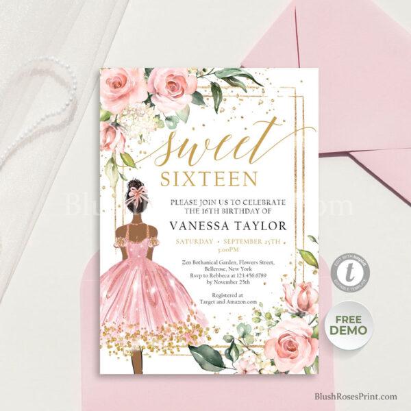 bohemian-dusty-rose-flowers-sweet-sixteen-invitation-template