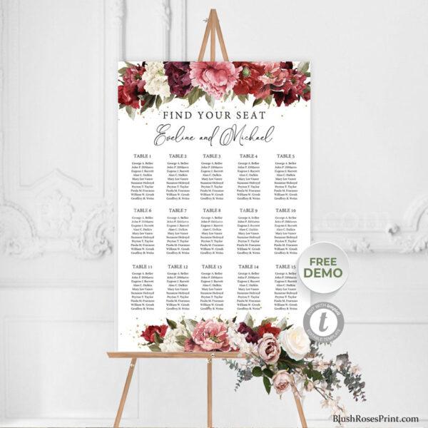 boho-blush-burgundy-flowers-roses-peonies-wedding-seating-chart-templat