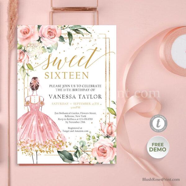 boho-blush-pink-floral-gold-geometric-frame-sweet-16th-birthday-invitation-printable