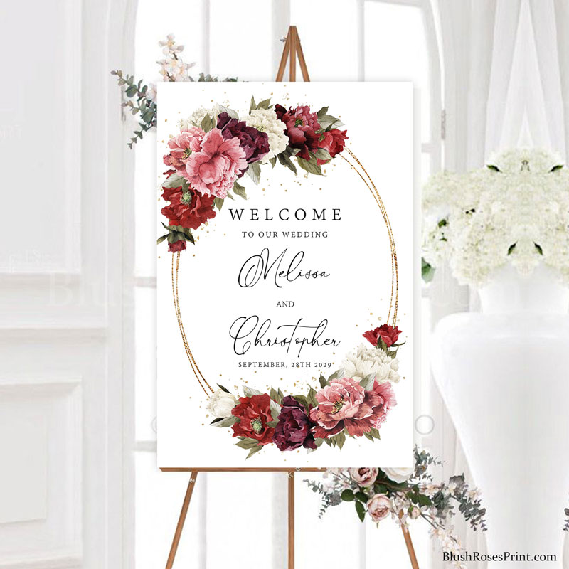 boho-etsy-wedding-welcome-sign-with-dusty-pink-roses-and-blush-pink-peonies-and-burgundy-flowers