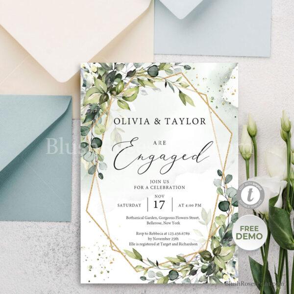 boho-greenery-foliage-gold-geometric-engagement-party-invitation-template