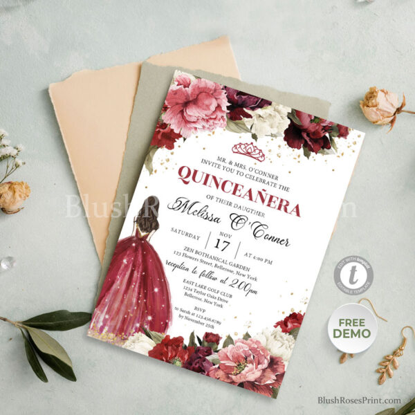 boho-quinceanera-invitation-templates-in-spanish-with-vintage-roses-flowers