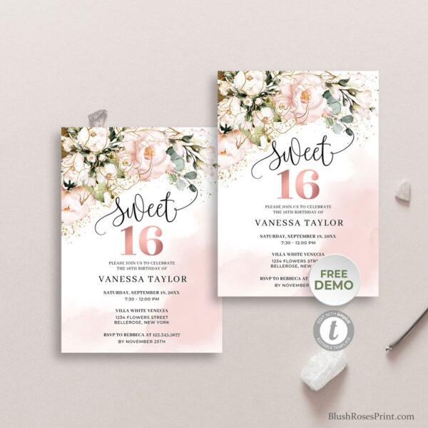 boho-rose-gold-sweet-sixteen-invitation-printable