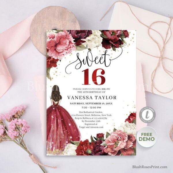 burgundy-yand-blush-flowers-roses-peonies-sweet-sixteen-invitation-printable