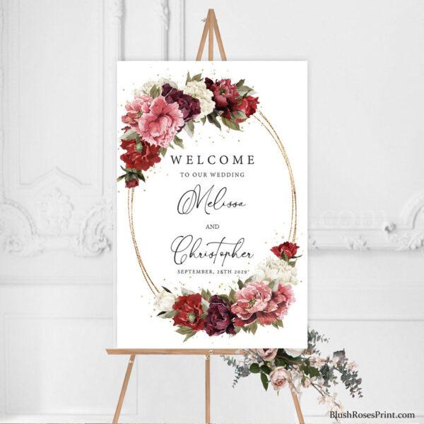 burgundy-and-blush-and-mauve-roses-peonies-diy-wedding-welcome-sign-printable
