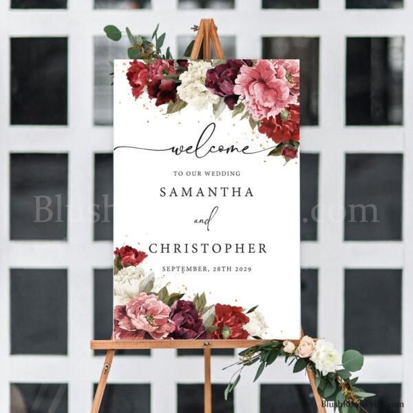burgundy-and-blush-roses-peonies-wedding-welcome-sign-template-free